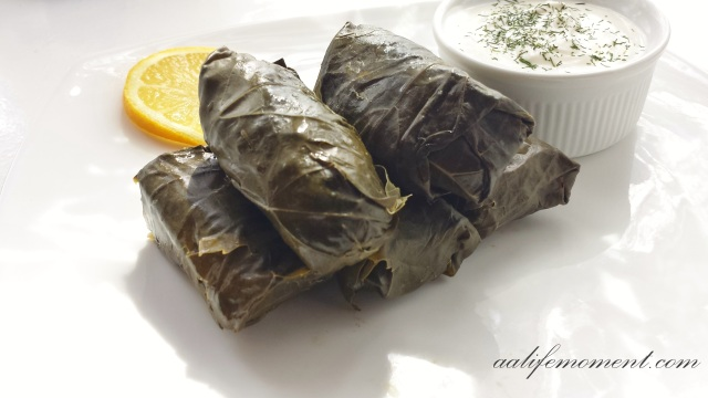 Dolmades (Stuffed Grape Leaves with spinach, spring onion and rice)