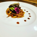 Plated asian steak and udon